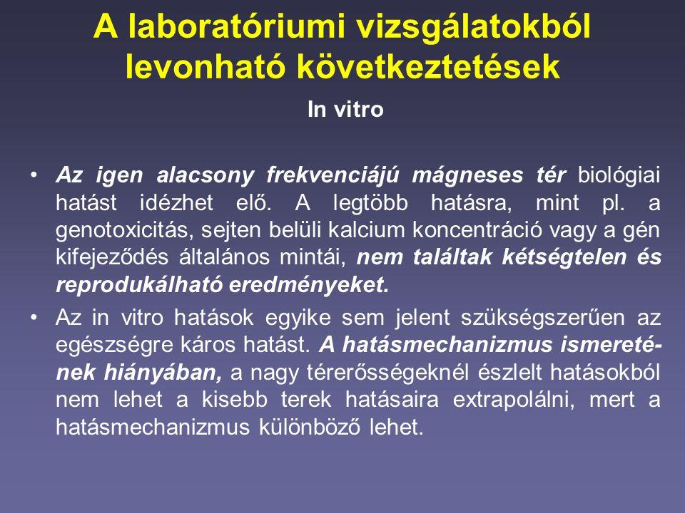 A laboratóriumi vizsgálatokból levonható következtetések In vitro Az igen alacsony frekvenciájú mágneses tér biológiai hatást idézhet elő.