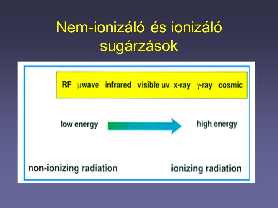 Ultraibolya sugárzások Hullámhossz szerinti felosztás: UV-A: 400-320 nm UV-B: 320-280 nm UV-C: 280-180 nm A fotonok energiája a nem-ionizáló sugárzások közül ennél a legnagyobb:  kémiai kötések törése  DNS károsító hatás  bizonyított rákkeltő hatás