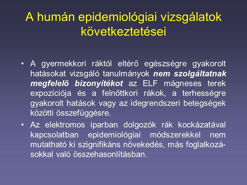 A humán epidemiológiai vizsgálatok következtetései A gyermekkori ráktól eltérő egészségre gyakorolt hatásokat vizsgáló tanulmányok nem szolgáltatnak m