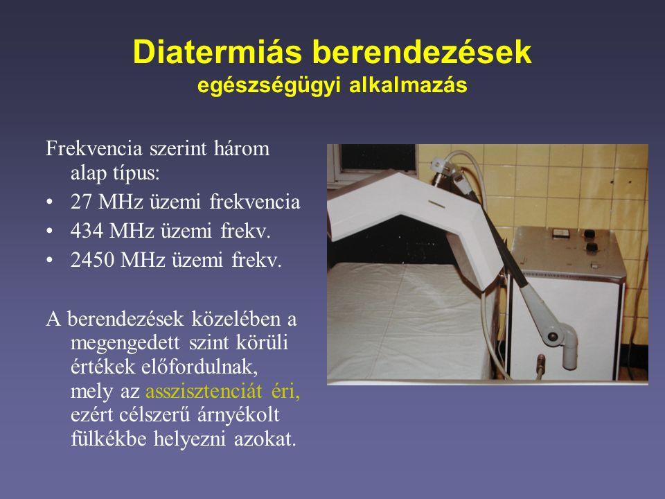 Diatermiás berendezések egészségügyi alkalmazás Frekvencia szerint három alap típus: 27 MHz üzemi frekvencia 434 MHz üzemi frekv. 2450 MHz üzemi frekv