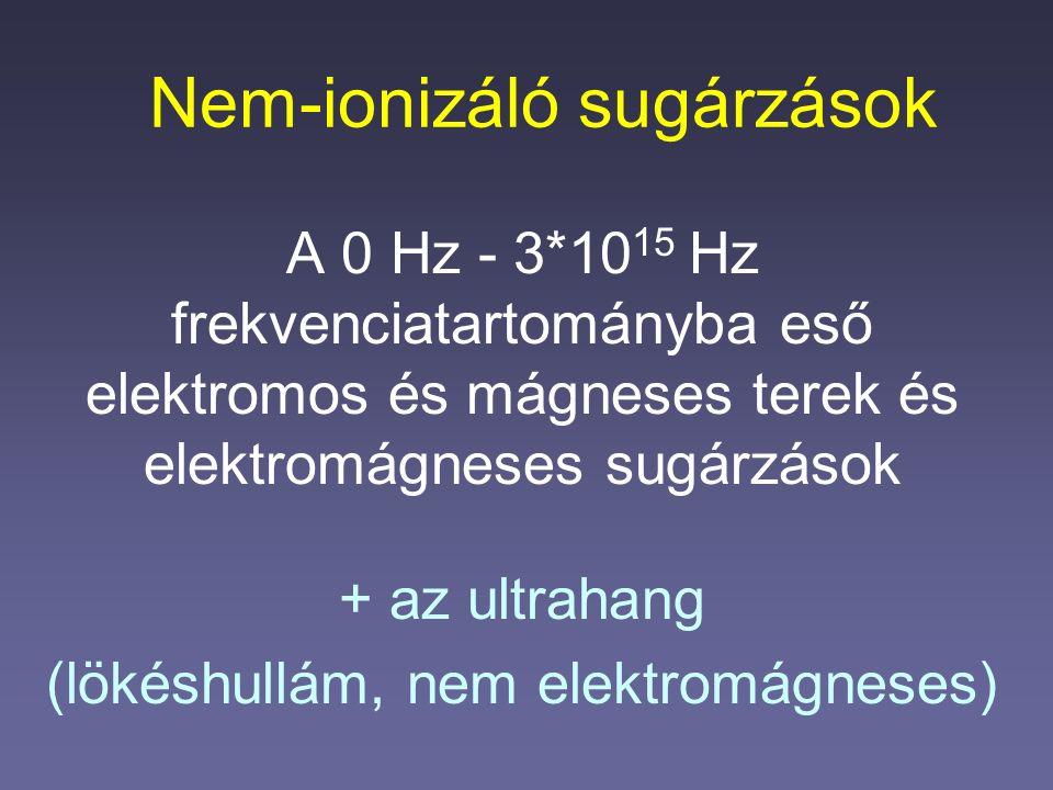 Nem-ionizáló sugárzások A 0 Hz - 3*10 15 Hz frekvenciatartományba eső elektromos és mágneses terek és elektromágneses sugárzások + az ultrahang (lökés