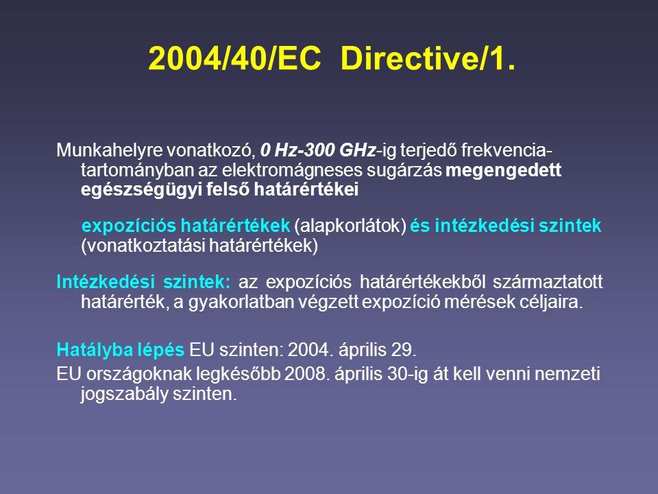 2004/40/EC Directive/1. Munkahelyre vonatkozó, 0 Hz-300 GHz-ig terjedő frekvencia- tartományban az elektromágneses sugárzás megengedett egészségügyi f