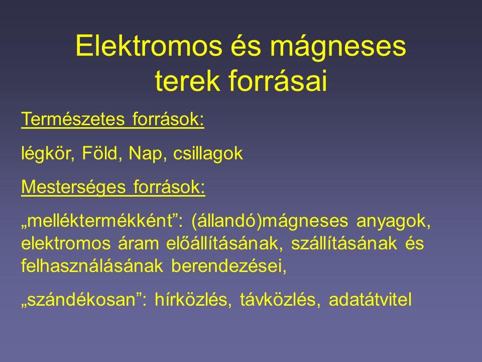 """Elektromos és mágneses terek forrásai Természetes források: légkör, Föld, Nap, csillagok Mesterséges források: """"melléktermékként : (állandó)mágneses anyagok, elektromos áram előállításának, szállításának és felhasználásának berendezései, """"szándékosan : hírközlés, távközlés, adatátvitel"""