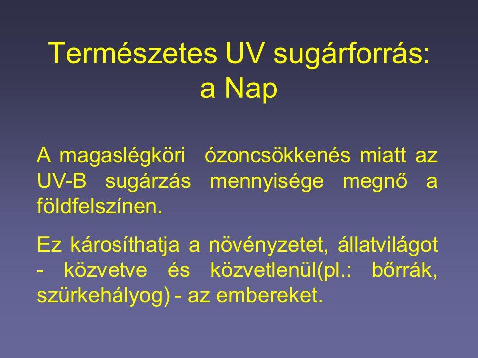 Természetes UV sugárforrás: a Nap A magaslégköri ózoncsökkenés miatt az UV-B sugárzás mennyisége megnő a földfelszínen.