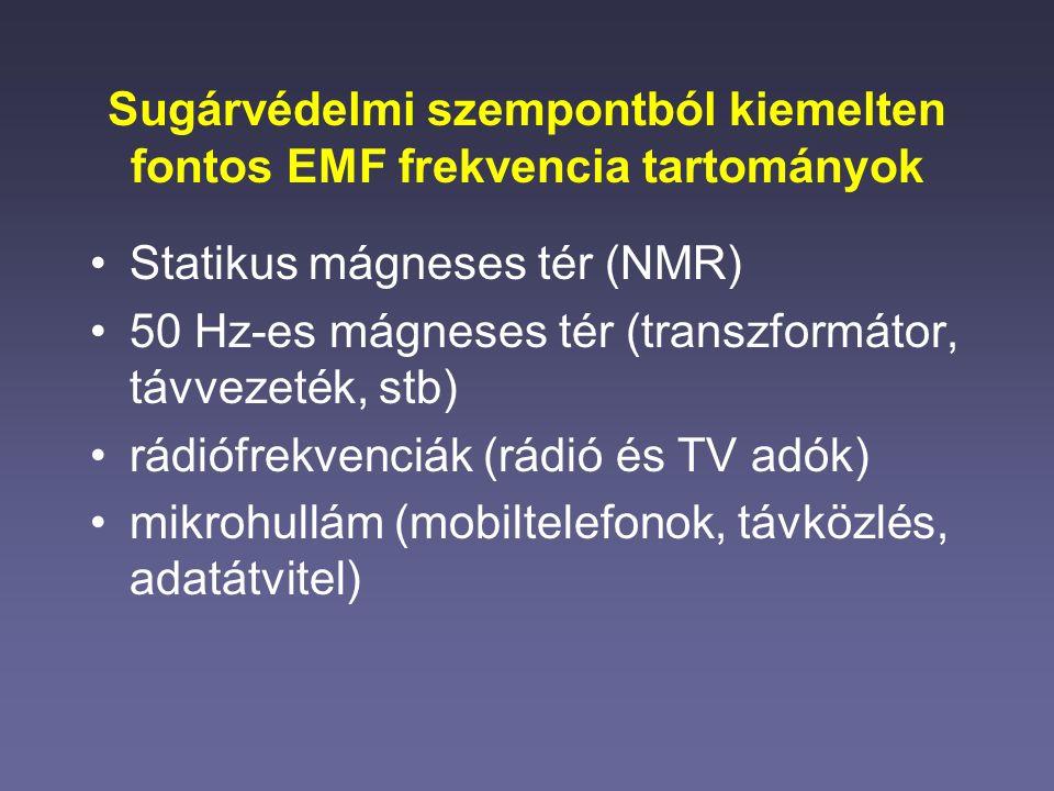 Sugárvédelmi szempontból kiemelten fontos EMF frekvencia tartományok Statikus mágneses tér (NMR) 50 Hz-es mágneses tér (transzformátor, távvezeték, stb) rádiófrekvenciák (rádió és TV adók) mikrohullám (mobiltelefonok, távközlés, adatátvitel)