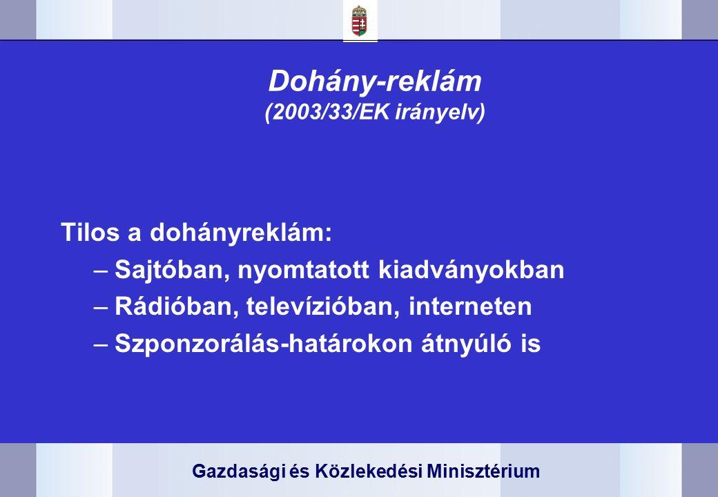 Gazdasági és Közlekedési Minisztérium Dohány-reklám (2003/33/EK irányelv) Tilos a dohányreklám: –Sajtóban, nyomtatott kiadványokban –Rádióban, televízióban, interneten –Szponzorálás-határokon átnyúló is