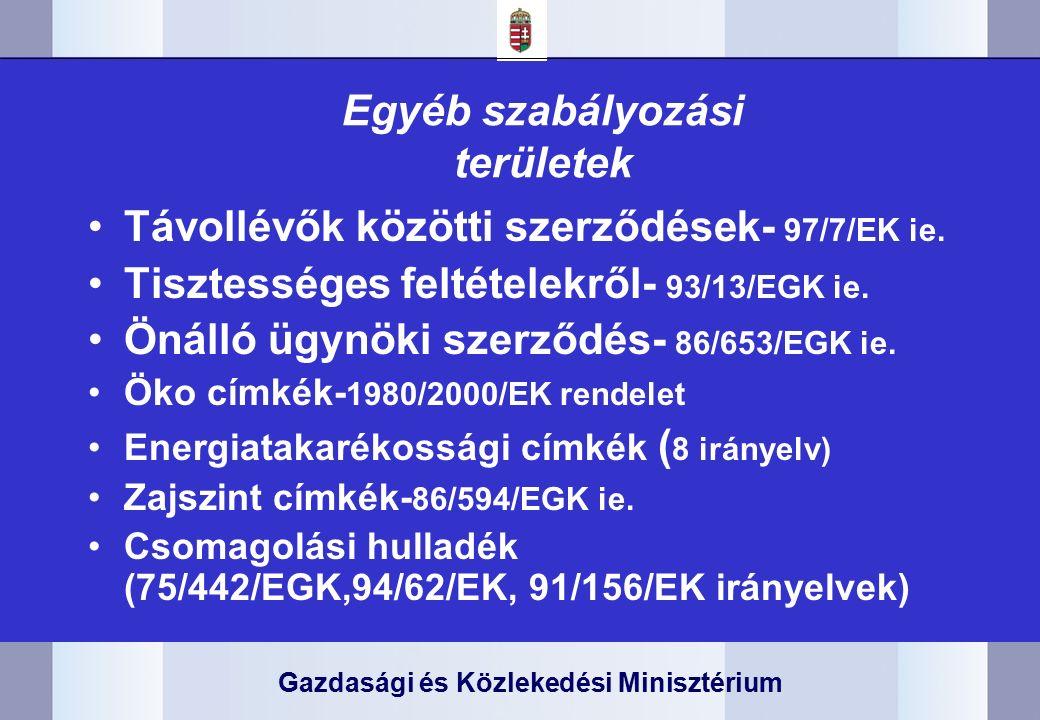 Gazdasági és Közlekedési Minisztérium Egyéb szabályozási területek Távollévők közötti szerződések- 97/7/EK ie.