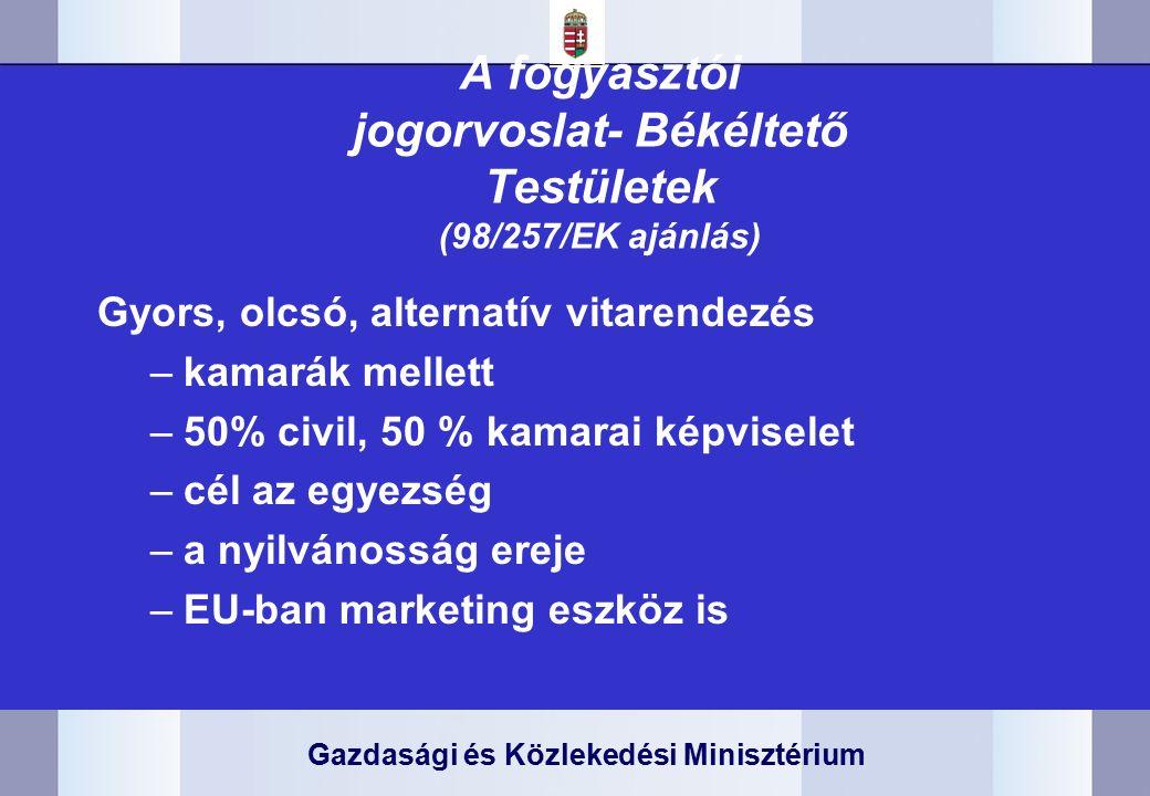 Gazdasági és Közlekedési Minisztérium A fogyasztói jogorvoslat- Békéltető Testületek (98/257/EK ajánlás) Gyors, olcsó, alternatív vitarendezés –kamarák mellett –50% civil, 50 % kamarai képviselet –cél az egyezség –a nyilvánosság ereje –EU-ban marketing eszköz is
