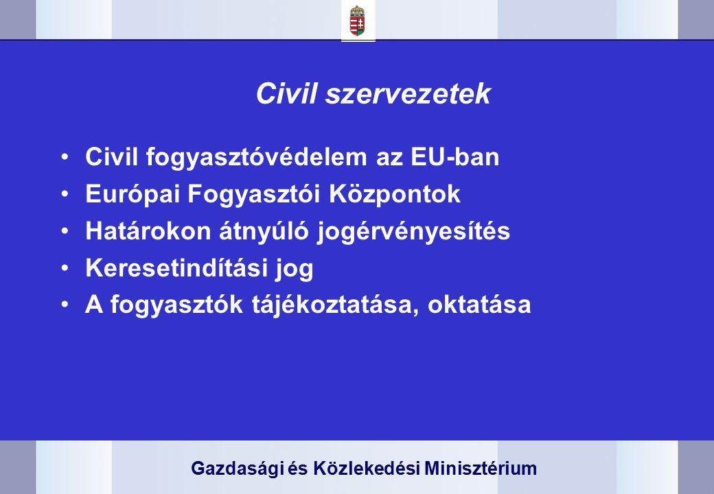 Gazdasági és Közlekedési Minisztérium Civil szervezetek Civil fogyasztóvédelem az EU-ban Európai Fogyasztói Központok Határokon átnyúló jogérvényesítés Keresetindítási jog A fogyasztók tájékoztatása, oktatása