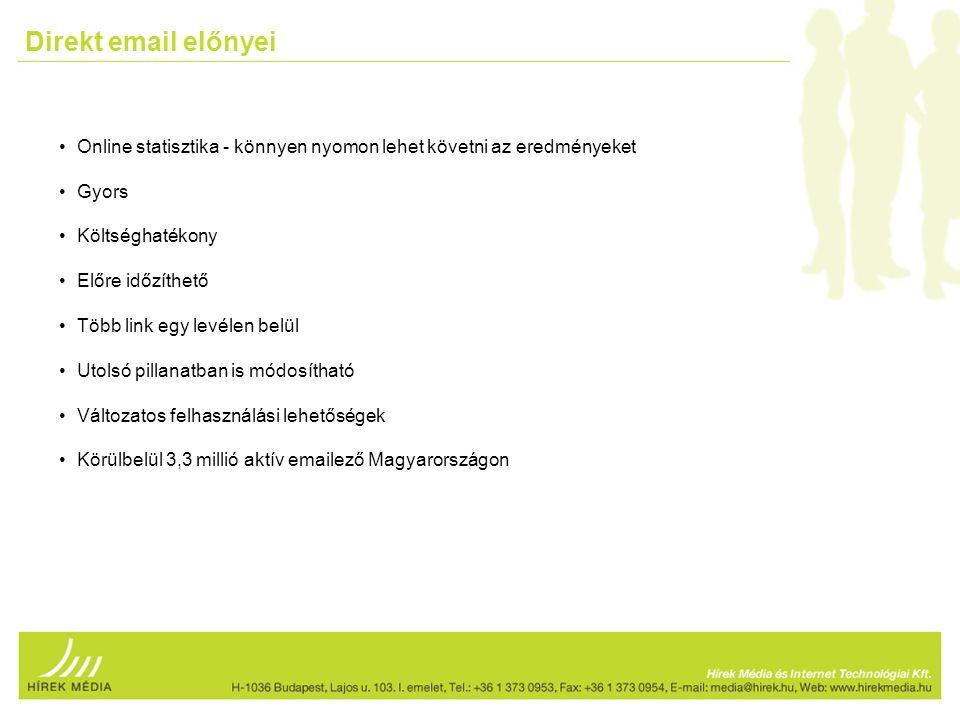 Direkt email előnyei Online statisztika - könnyen nyomon lehet követni az eredményeket Gyors Költséghatékony Előre időzíthető Több link egy levélen belül Utolsó pillanatban is módosítható Változatos felhasználási lehetőségek Körülbelül 3,3 millió aktív emailező Magyarországon