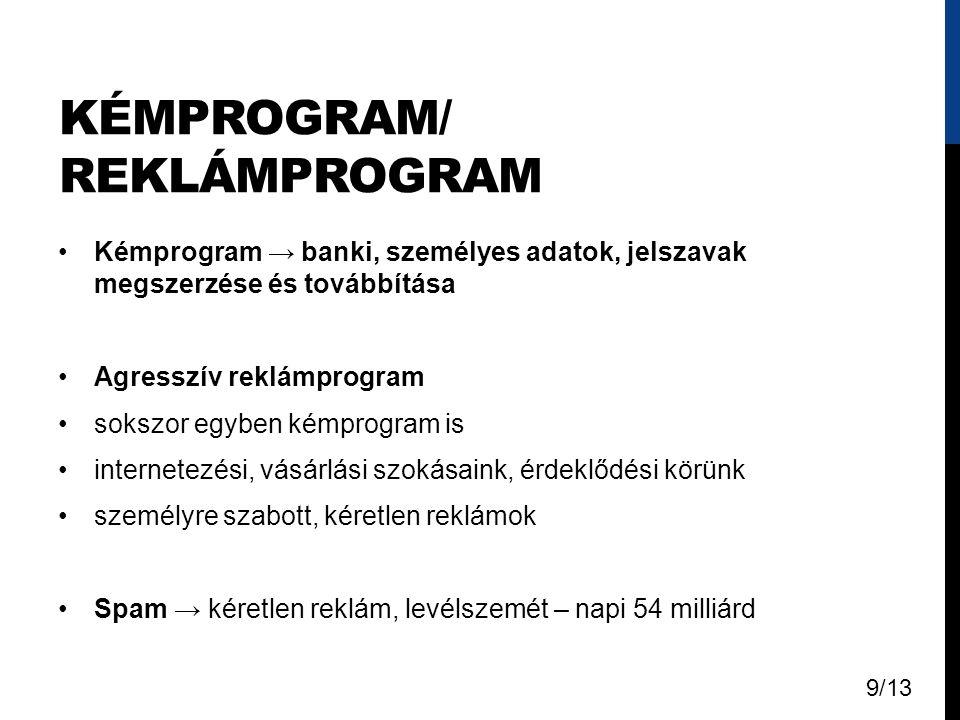 KÉMPROGRAM/ REKLÁMPROGRAM Kémprogram → banki, személyes adatok, jelszavak megszerzése és továbbítása Agresszív reklámprogram sokszor egyben kémprogram