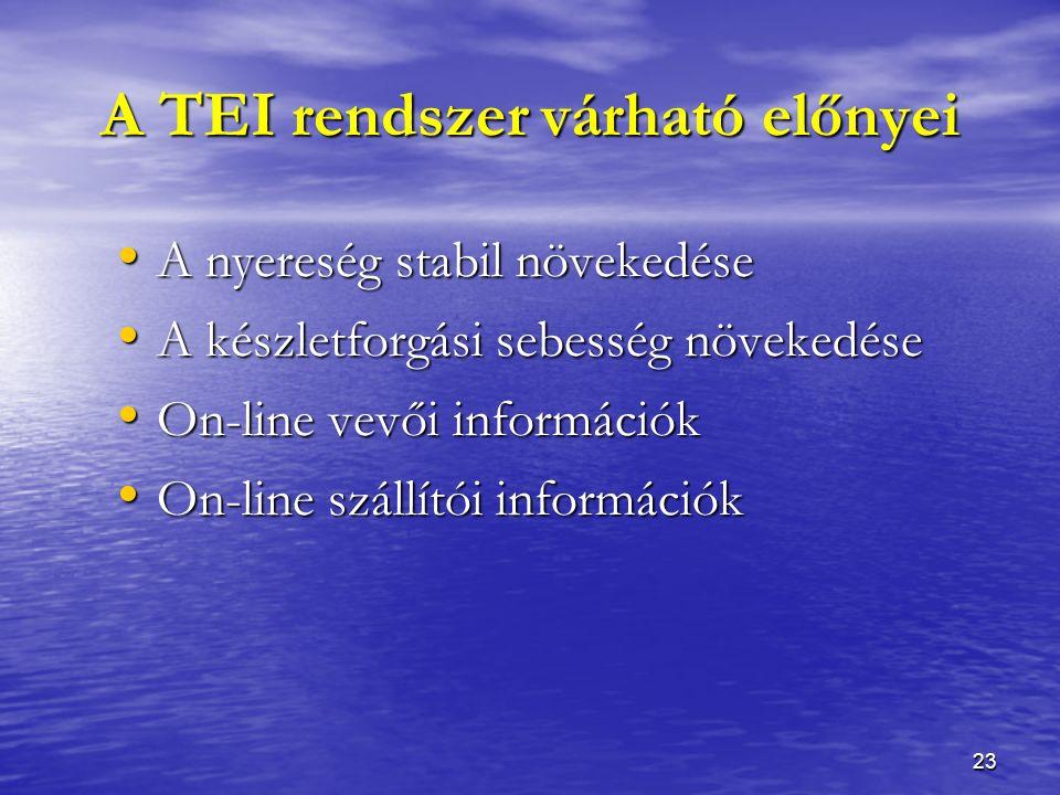 23 A TEI rendszer várható előnyei A nyereség stabil növekedése A nyereség stabil növekedése A készletforgási sebesség növekedése A készletforgási sebesség növekedése On-line vevői információk On-line vevői információk On-line szállítói információk On-line szállítói információk