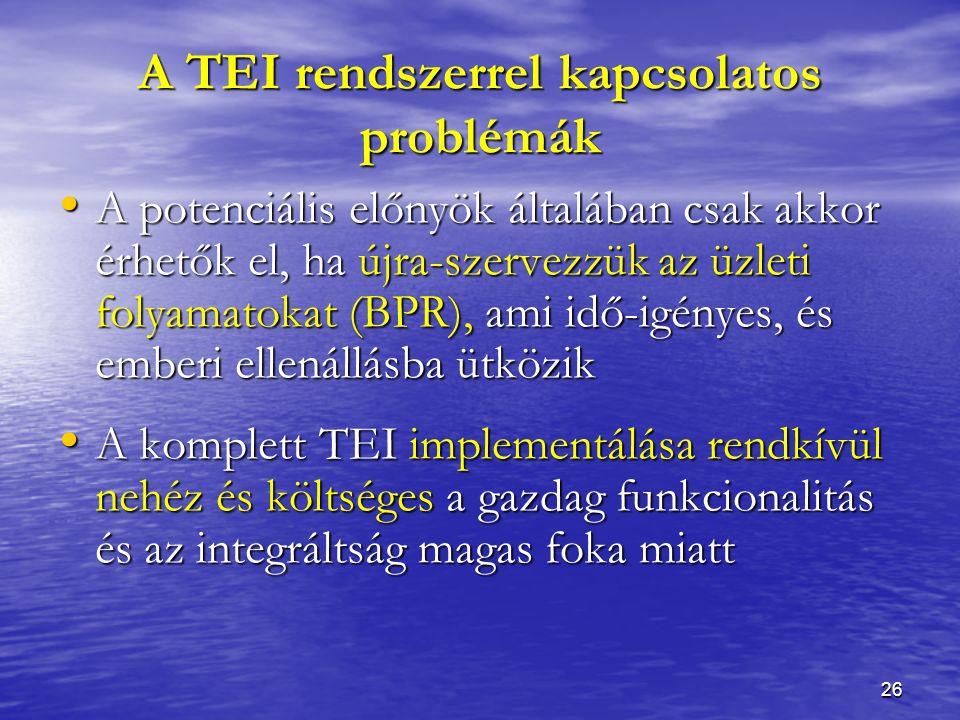 26 A TEI rendszerrel kapcsolatos problémák A potenciális előnyök általában csak akkor érhetők el, ha újra-szervezzük az üzleti folyamatokat (BPR), ami idő-igényes, és emberi ellenállásba ütközik A potenciális előnyök általában csak akkor érhetők el, ha újra-szervezzük az üzleti folyamatokat (BPR), ami idő-igényes, és emberi ellenállásba ütközik A komplett TEI implementálása rendkívül nehéz és költséges a gazdag funkcionalitás és az integráltság magas foka miatt A komplett TEI implementálása rendkívül nehéz és költséges a gazdag funkcionalitás és az integráltság magas foka miatt