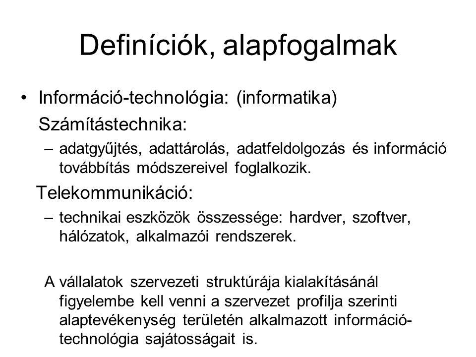 Definíciók, alapfogalmak Információ-technológia: (informatika) Számítástechnika: –adatgyűjtés, adattárolás, adatfeldolgozás és információ továbbítás módszereivel foglalkozik.