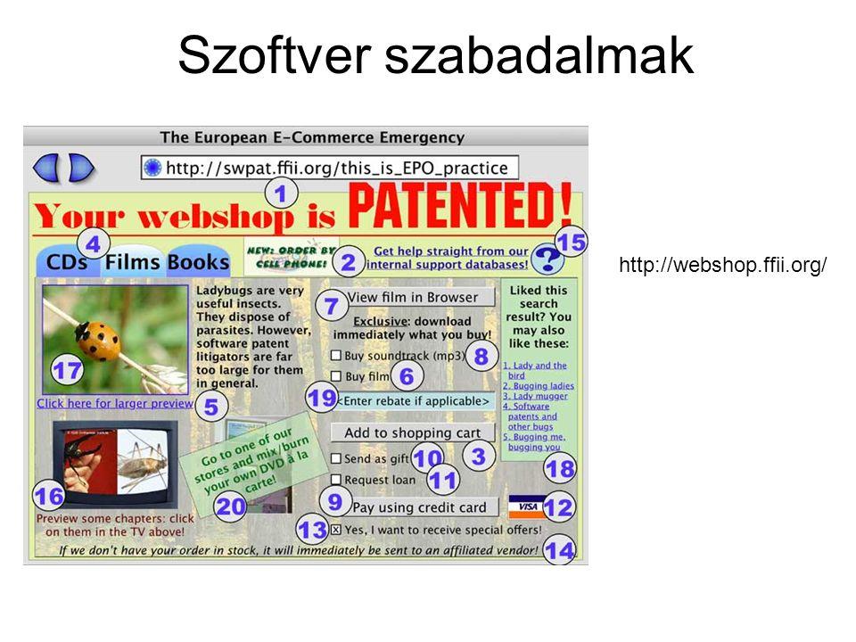 Szoftver szabadalmak http://webshop.ffii.org/