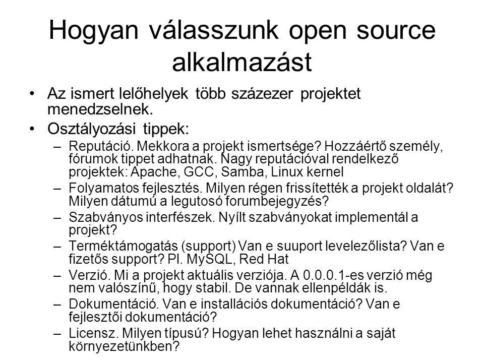Hogyan válasszunk open source alkalmazást Az ismert lelőhelyek több százezer projektet menedzselnek.