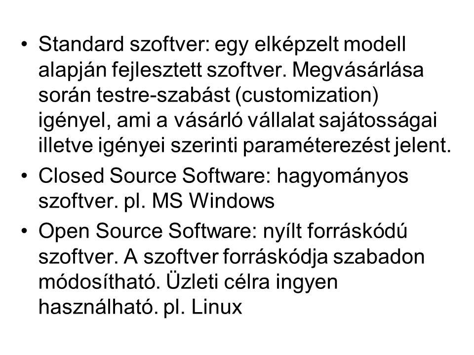 Standard szoftver: egy elképzelt modell alapján fejlesztett szoftver.