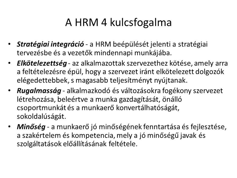A HRM 4 kulcsfogalma Stratégiai integráció - a HRM beépülését jelenti a stratégiai tervezésbe és a vezetők mindennapi munkájába. Elkötelezettség - az