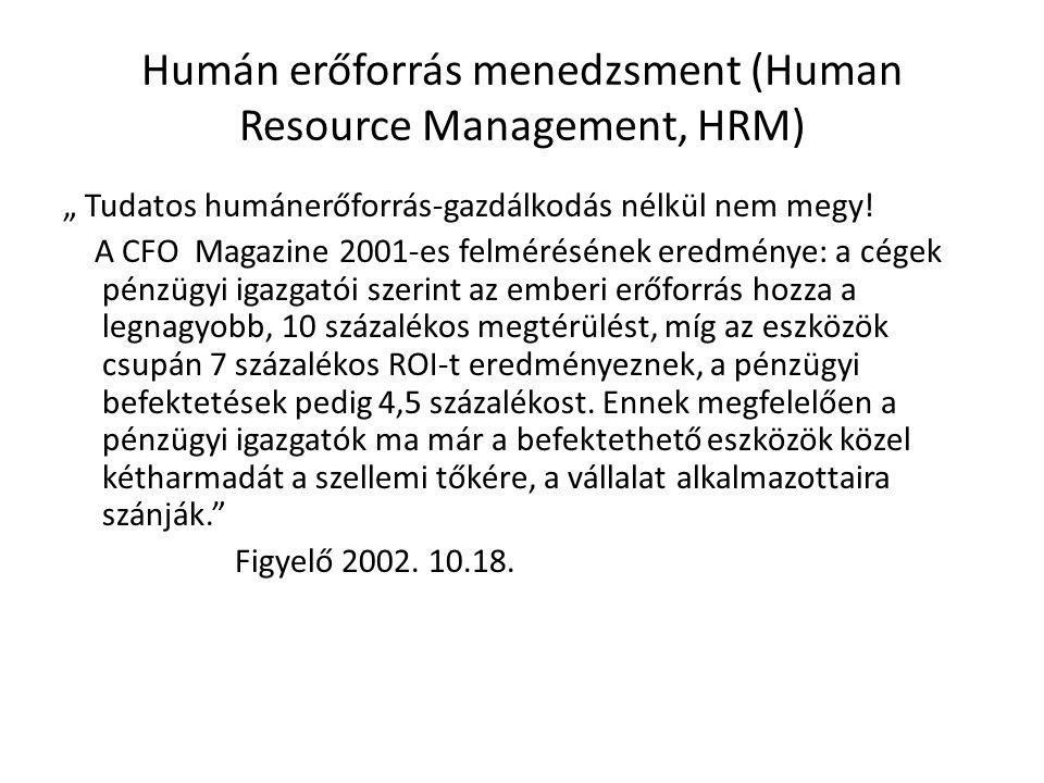 """Humán erőforrás menedzsment (Human Resource Management, HRM) """" Tudatos humánerőforrás-gazdálkodás nélkül nem megy! A CFO Magazine 2001-es felmérésének"""