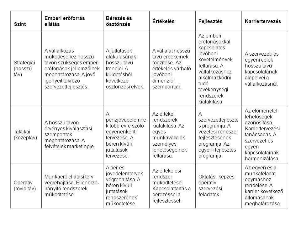 Szint Emberi erőforrás ellátás Bérezés és ösztönzés ÉrtékelésFejlesztésKarriertervezés Stratégiai (hosszú táv) A vállalkozás működéséhez hosszú távon