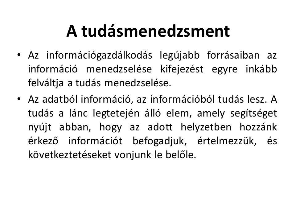 A tudásmenedzsment Az információgazdálkodás legújabb forrásaiban az információ menedzselése kifejezést egyre inkább felváltja a tudás menedzselése.