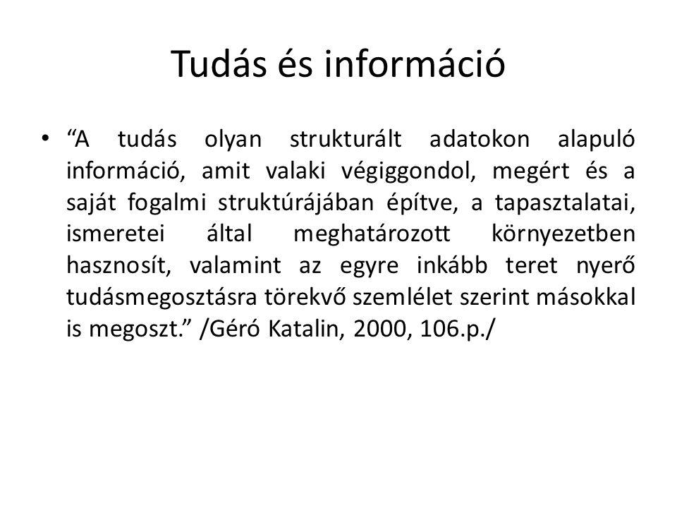 Tudás és információ A tudás olyan strukturált adatokon alapuló információ, amit valaki végiggondol, megért és a saját fogalmi struktúrájában építve, a tapasztalatai, ismeretei által meghatározott környezetben hasznosít, valamint az egyre inkább teret nyerő tudásmegosztásra törekvő szemlélet szerint másokkal is megoszt. /Géró Katalin, 2000, 106.p./