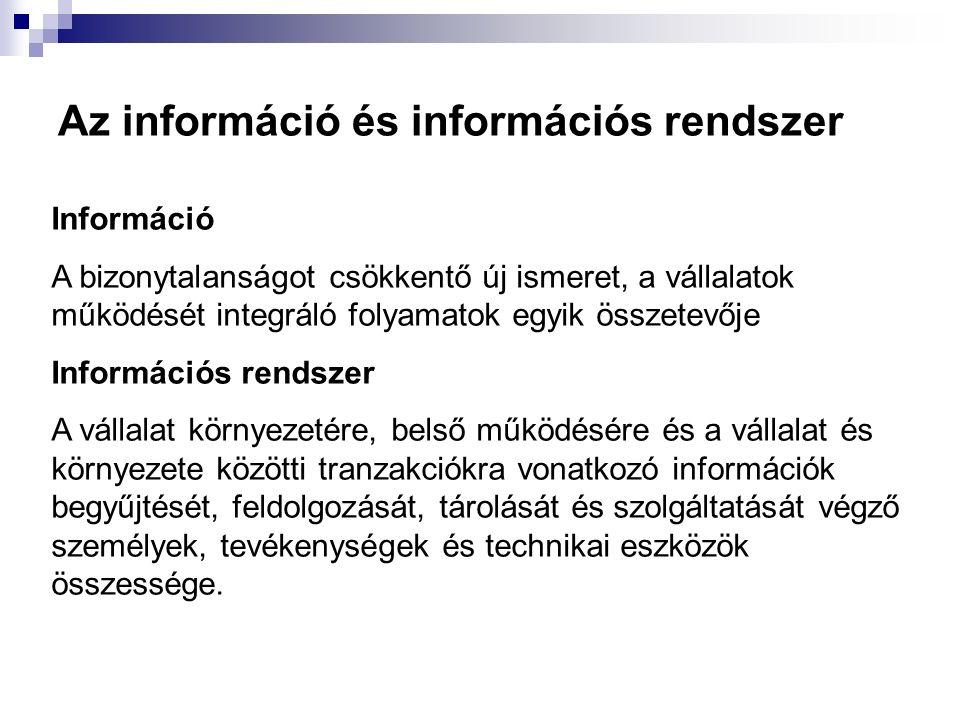 Az információ és információs rendszer Információ A bizonytalanságot csökkentő új ismeret, a vállalatok működését integráló folyamatok egyik összetevőj