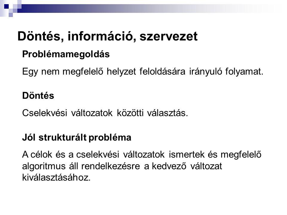 Döntés, információ, szervezet Problémamegoldás Egy nem megfelelő helyzet feloldására irányuló folyamat. Döntés Cselekvési változatok közötti választás