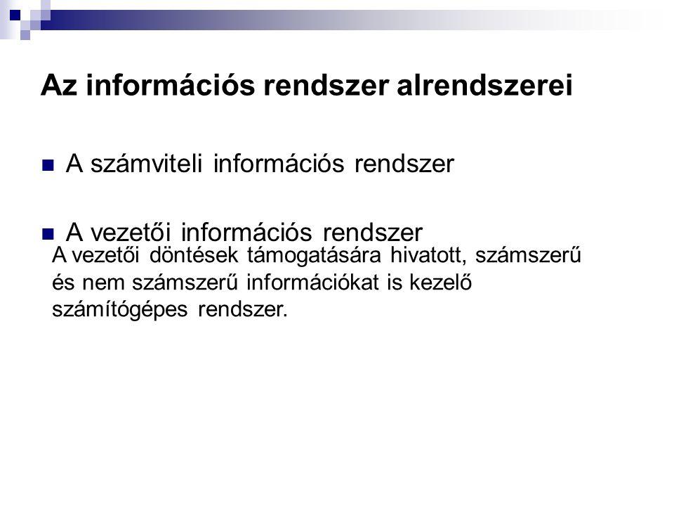 Az információs rendszer alrendszerei A számviteli információs rendszer A vezetői információs rendszer A vezetői döntések támogatására hivatott, számsz