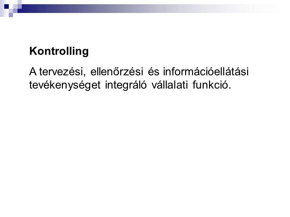 Kontrolling A tervezési, ellenőrzési és információellátási tevékenységet integráló vállalati funkció.