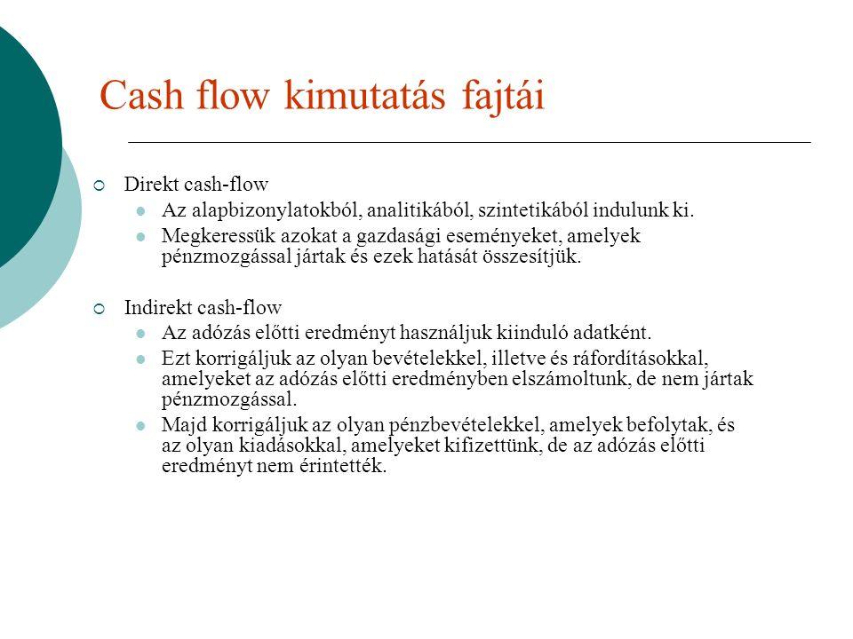 Cash flow kimutatás fajtái  Direkt cash-flow Az alapbizonylatokból, analitikából, szintetikából indulunk ki.