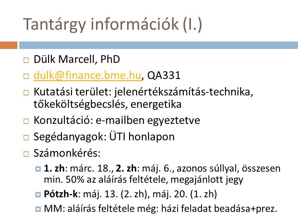 Tantárgy információk (I.)  Dülk Marcell, PhD  dulk@finance.bme.hu, QA331 dulk@finance.bme.hu  Kutatási terület: jelenértékszámítás-technika, tőkekö