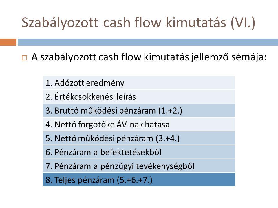 Szabályozott cash flow kimutatás (VI.)  A szabályozott cash flow kimutatás jellemző sémája: 1. Adózott eredmény 2. Értékcsökkenési leírás 3. Bruttó m