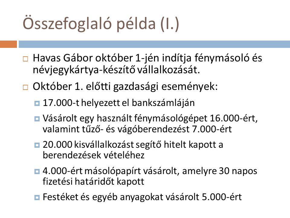 Összefoglaló példa (I.)  Havas Gábor október 1-jén indítja fénymásoló és névjegykártya-készítő vállalkozását.  Október 1. előtti gazdasági események