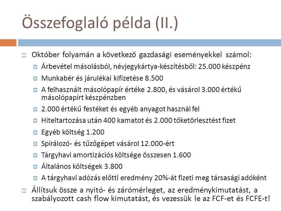 Összefoglaló példa (II.)  Október folyamán a következő gazdasági eseményekkel számol:  Árbevétel másolásból, névjegykártya-készítésből: 25.000 készp