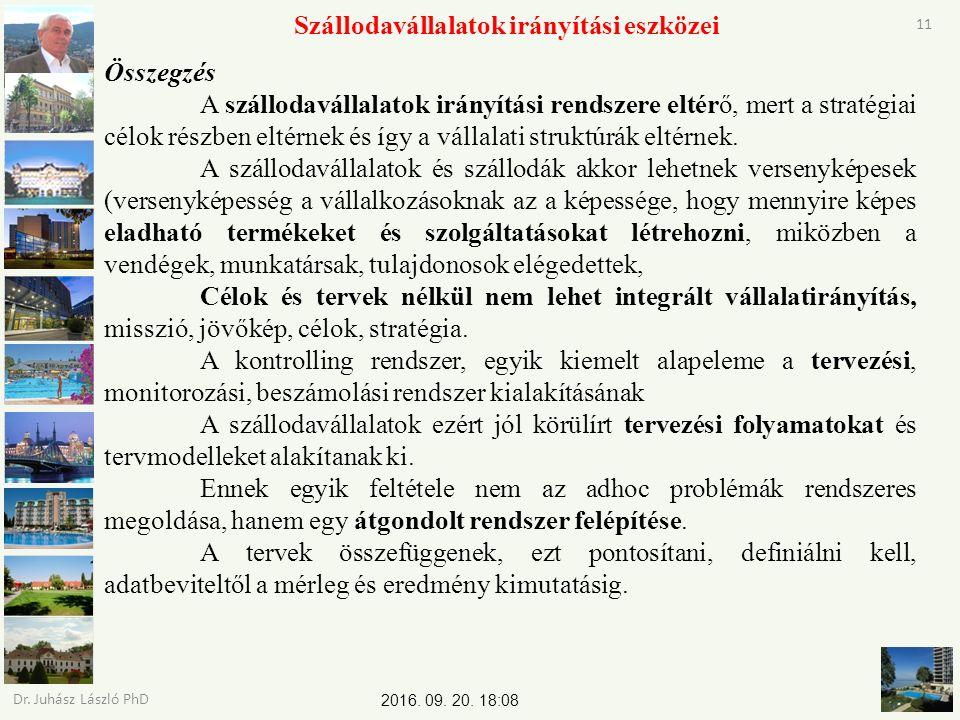 2016. 09. 20. 18:09 Dr. Juhász László PhD 11 Szállodavállalatok irányítási eszközei Összegzés A szállodavállalatok irányítási rendszere eltérő, mert a