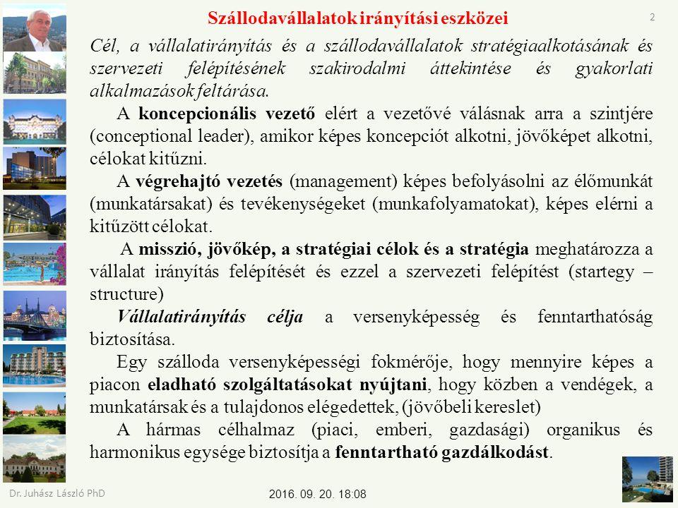 2016. 09. 20. 18:09 Dr. Juhász László PhD 2 Szállodavállalatok irányítási eszközei Cél, a vállalatirányítás és a szállodavállalatok stratégiaalkotásán