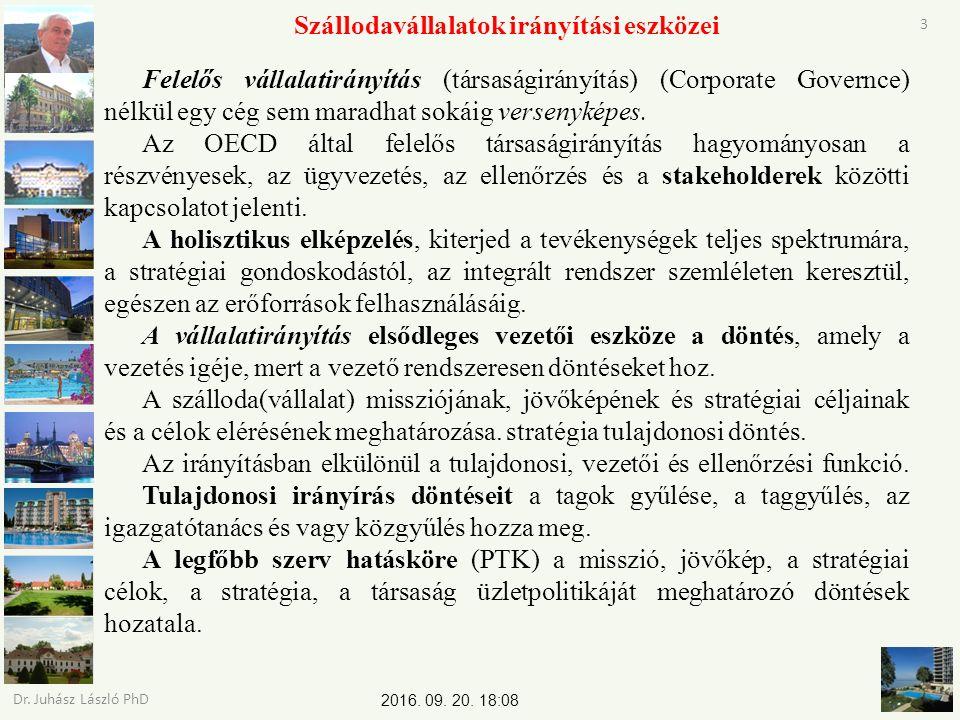 2016. 09. 20. 18:09 Dr. Juhász László PhD 3 Szállodavállalatok irányítási eszközei Felelős vállalatirányítás (társaságirányítás) (Corporate Governce)