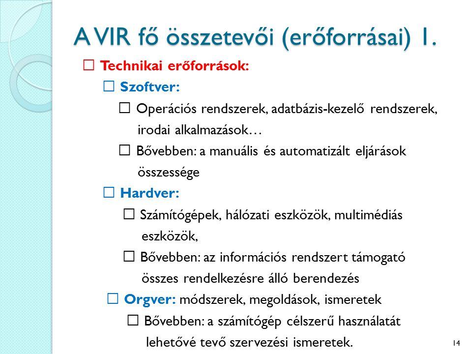 A VIR fő összetevői (erőforrásai) 1. Technikai erőforrások: Szoftver: Operációs rendszerek, adatbázis-kezelő rendszerek, irodai alkalmazások… Bővebben