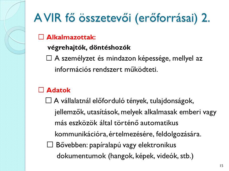 A VIR fő összetevői (erőforrásai) 2. Alkalmazottak: végrehajtók, döntéshozók A személyzet és mindazon képessége, mellyel az információs rendszert műkö