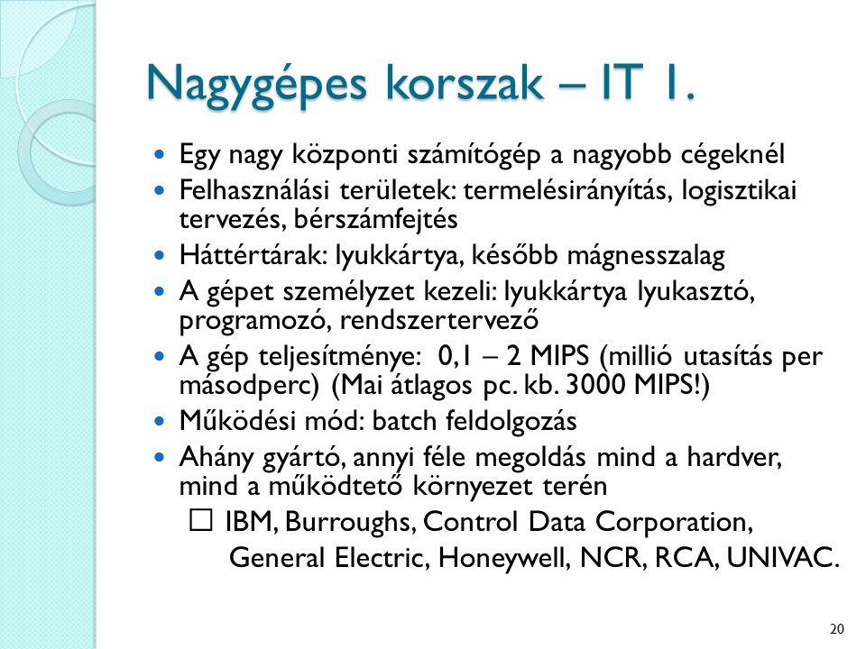 Nagygépes korszak – IT 1. Egy nagy központi számítógép a nagyobb cégeknél Felhasználási területek: termelésirányítás, logisztikai tervezés, bérszámfej