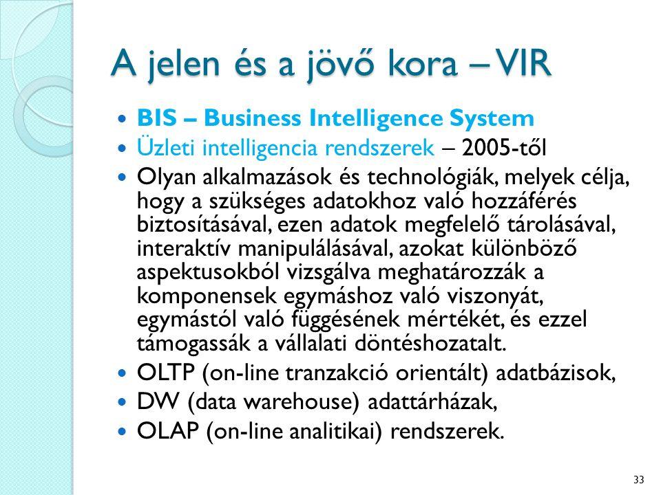 A jelen és a jövő kora – VIR BIS – Business Intelligence System Üzleti intelligencia rendszerek – 2005-től Olyan alkalmazások és technológiák, melyek