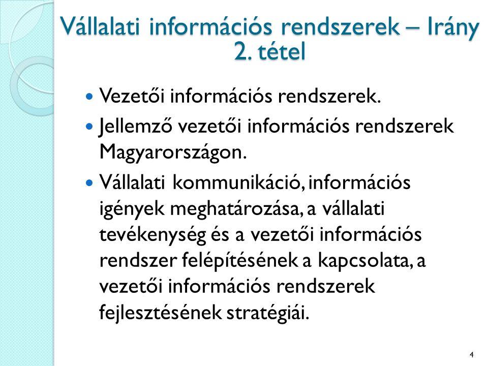 Vezetői információs rendszerek. Jellemző vezetői információs rendszerek Magyarországon. Vállalati kommunikáció, információs igények meghatározása, a v