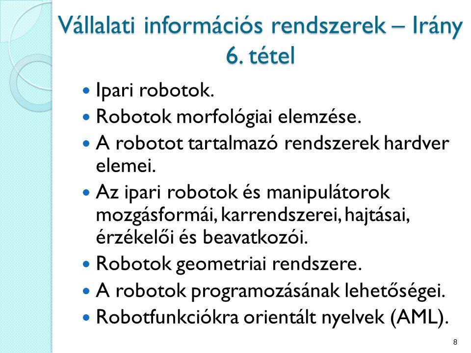 Ipari robotok. Robotok morfológiai elemzése. A robotot tartalmazó rendszerek hardver elemei. Az ipari robotok és manipulátorok mozgásformái, karrendsz