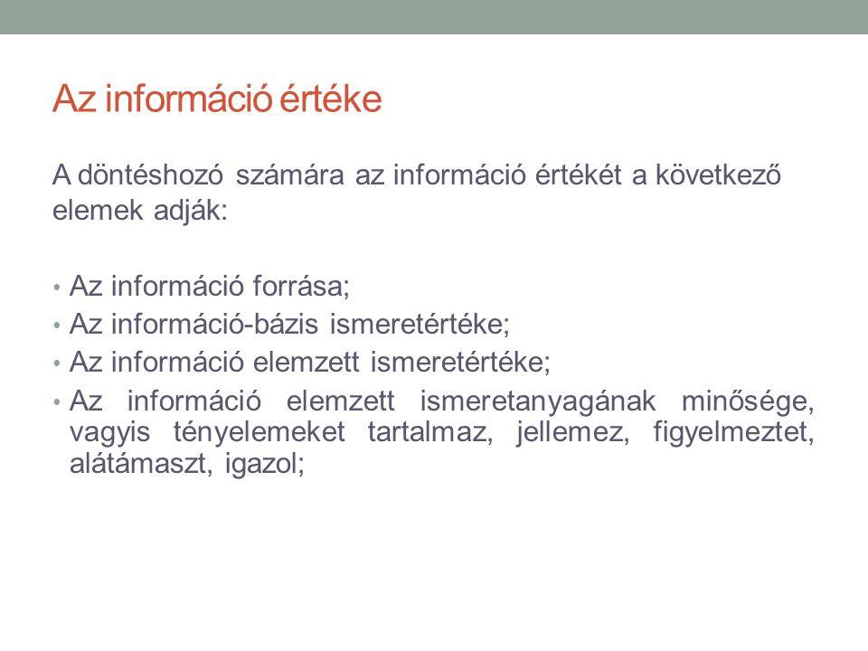 Az információ értéke A döntéshozó számára az információ értékét a következő elemek adják: Az információ forrása; Az információ-bázis ismeretértéke; Az információ elemzett ismeretértéke; Az információ elemzett ismeretanyagának minősége, vagyis tényelemeket tartalmaz, jellemez, figyelmeztet, alátámaszt, igazol;