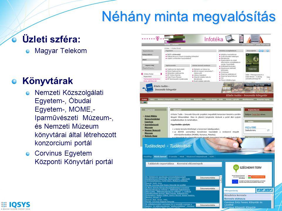 Néhány minta megvalósítás Üzleti szféra: Magyar Telekom Könyvtárak Nemzeti Közszolgálati Egyetem-, Óbudai Egyetem-, MOME,- Iparművészeti Múzeum-, és Nemzeti Múzeum könyvtárai által létrehozott konzorciumi portál Corvinus Egyetem Központi Könyvtári portál