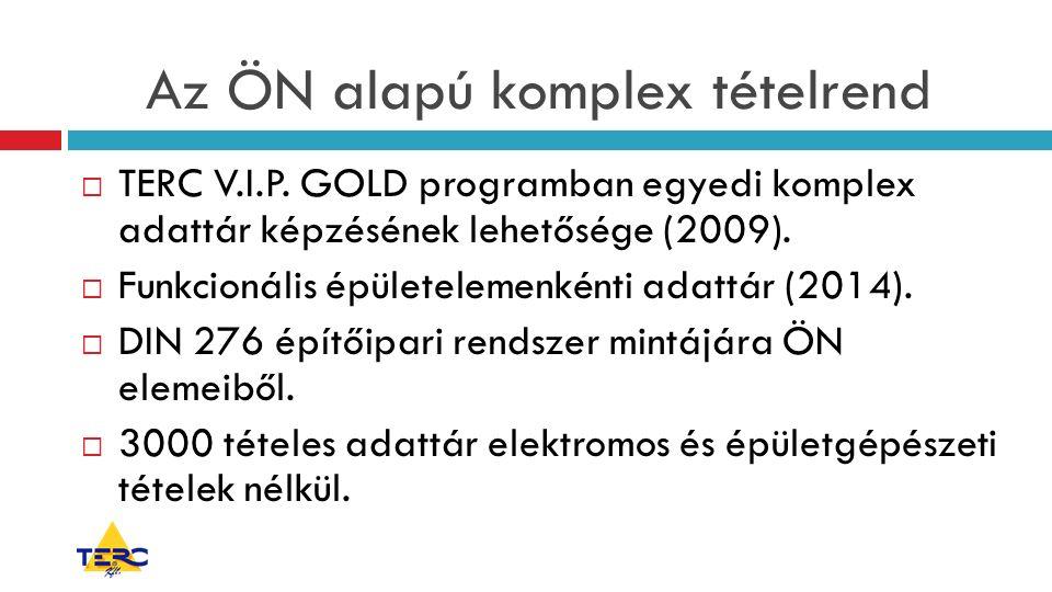 Az ÖN alapú komplex tételrend  TERC V.I.P. GOLD programban egyedi komplex adattár képzésének lehetősége (2009).  Funkcionális épületelemenkénti adat