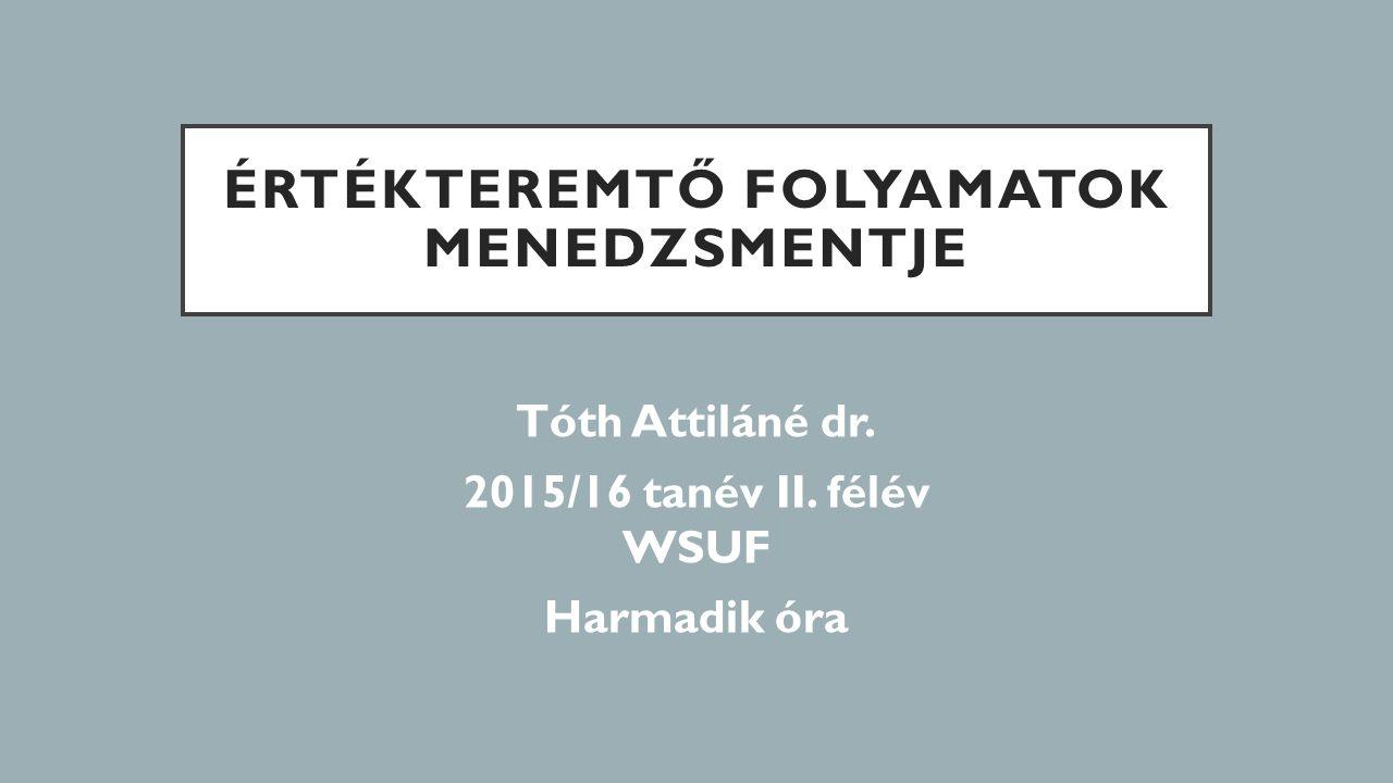 ÉRTÉKTEREMTŐ FOLYAMATOK MENEDZSMENTJE Tóth Attiláné dr. 2015/16 tanév II. félév WSUF Harmadik óra