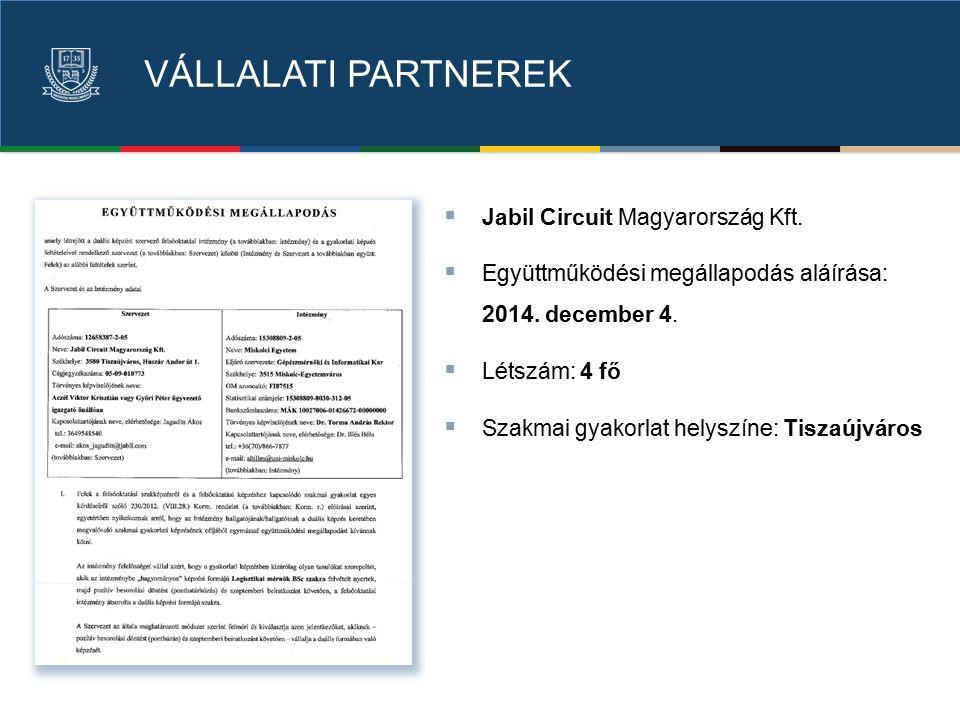 VÁLLALATI PARTNEREK  Jabil Circuit Magyarország Kft.