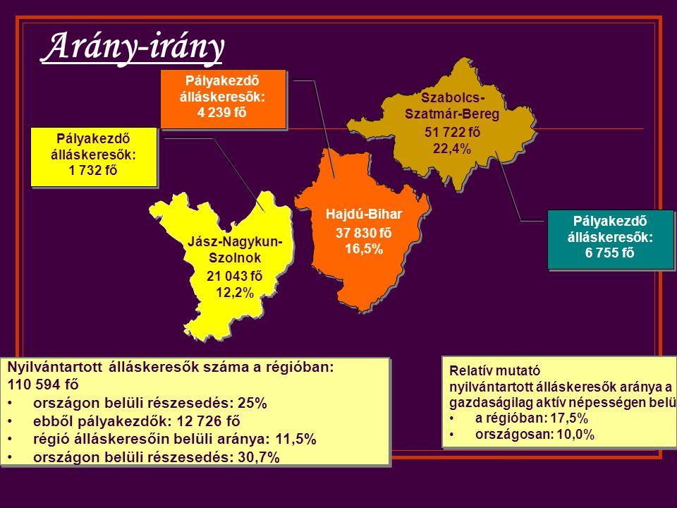 Szabolcs- Szatmár-Bereg 51 722 fő 22,4% Hajdú-Bihar 37 830 fő 16,5% Jász-Nagykun- Szolnok 21 043 fő 12,2% Pályakezdő álláskeresők: 1 732 fő Pályakezdő álláskeresők: 4 239 fő Pályakezdő álláskeresők: 6 755 fő Nyilvántartott álláskeresők száma a régióban: 110 594 fő országon belüli részesedés: 25% ebből pályakezdők: 12 726 fő régió álláskeresőin belüli aránya: 11,5% országon belüli részesedés: 30,7% Nyilvántartott álláskeresők száma a régióban: 110 594 fő országon belüli részesedés: 25% ebből pályakezdők: 12 726 fő régió álláskeresőin belüli aránya: 11,5% országon belüli részesedés: 30,7% Relatív mutató nyilvántartott álláskeresők aránya a gazdaságilag aktív népességen belül a régióban: 17,5% országosan: 10,0% Relatív mutató nyilvántartott álláskeresők aránya a gazdaságilag aktív népességen belül a régióban: 17,5% országosan: 10,0% Arány-irány